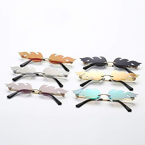 HYDYH SonnenbrillenMode Feuer Flamme Sonnenbrille Frauen Männer Randlose Welle Sonnenbrille Brillen Luxus Trending Schmale Sonnenbrille Streetwear, Weiß