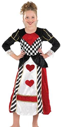 Zauberclown - Mädchen Königin der Herzen Karneval Faschingskostüm, 152, Mehrfarbig