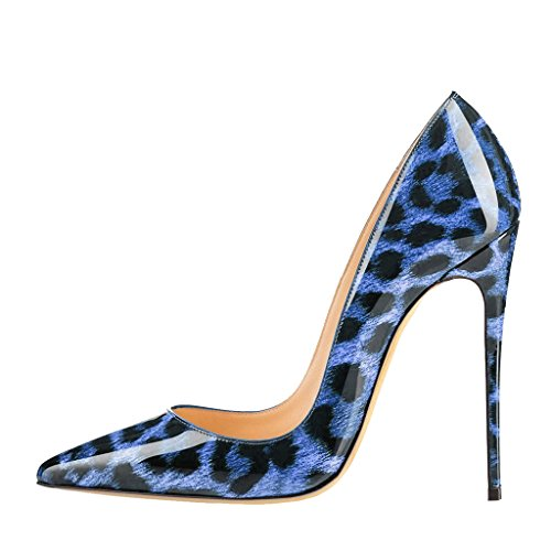 EKS - Sandali con Zeppa donna Blau Leopard