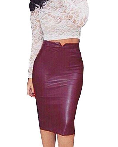 Minetom Mujeres Moda Atractivo Piel Sintética Midi Cintura Alta Elástica Bodycon Tubo Lápiz Falda Oficina Vintage Skirt Rojo EU M