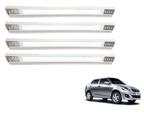 Auto Hub Rubber Car Bumper Guard Protector For Maruti Suzuki Swift Dzire New - White (Chrome Finish)  available at amazon for Rs.399