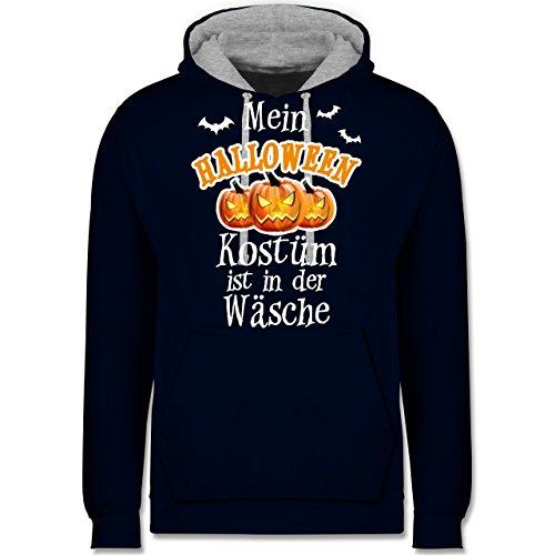 Halloween - Mein Halloween Kostüm ist in der Wäsche - Kontrast Hoodie Dunkelblau/Grau meliert