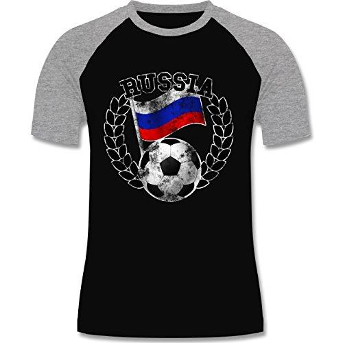 EM 2016 - Frankreich - Russia Flagge & Fußball Vintage - zweifarbiges Baseballshirt für Männer Schwarz/Grau Meliert