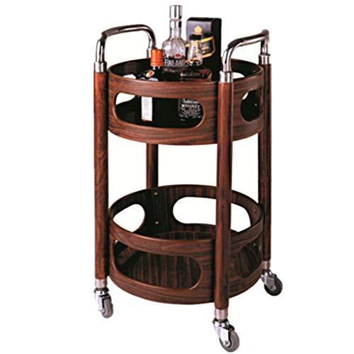 The taste of home Trolley Rack Rack Trolley - Runder Weinkarren-Imbisswagen Mobiler Teewagen Hotel-Wein-Reservoir-Trolley Beauty-Tool-Cart Trolley-Rack-Carts (Color : Brown) -