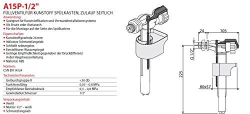 """Füllventil für WC- Spülkasten 1/2"""" Füll-Ventil Anschlußgewinde Seitlich Neu Schwimmerventil Gewindeendung"""