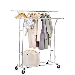 Yorbay Seelux Industrie Kleiderständer Garderobenständer auf Rollen 150kg ausziehbar zusammenklappbar Höhenverstellbar