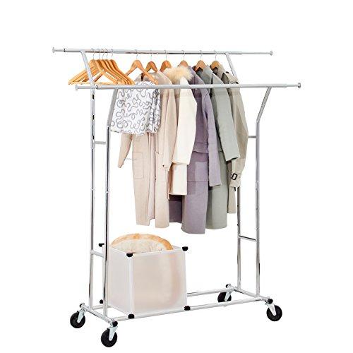 Yorbay Seelux Industrie Kleiderständer auf Rollen 150kg ausziehbar zusammenklappbar Höhenverstellbar
