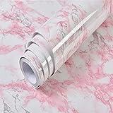 Solide Couleur Marbre Veine du bois Papier peint en vinyle auto-adhésif Film Cuisine Salon Décor Sticker imperméable, marbre rose clair, 40cm X 2m