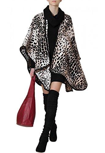 CASPAR Damen stylischer Poncho / Stola / Umhang / Überwurf / Strick - Cape mit Leomuster oder Hahnentritt - PON005, (Hahnentritt Schuhe Schwarz)