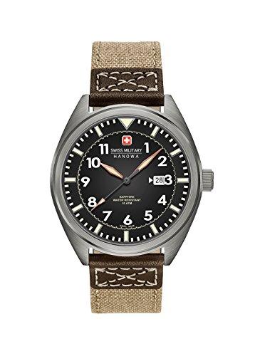 Swiss Military SM34521AEU/H03 - Reloj de cuarzo para hombres con esfera negra y correa de tela beige
