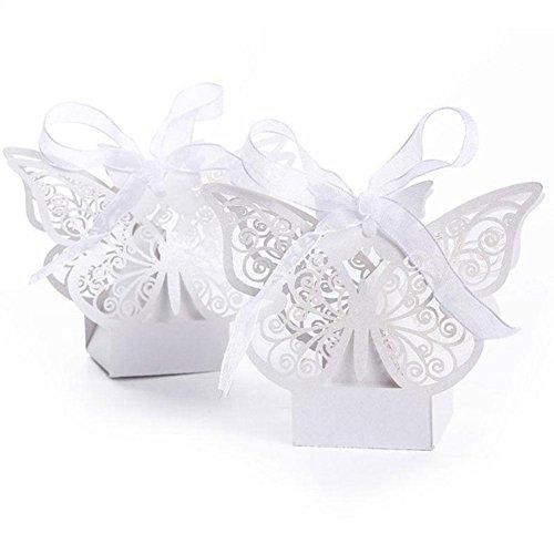 Blue Vessel 50 Stück Spitze Laser Cut Schmetterling Kuchen Süßigkeiten Geschenkboxen mit Ribbon Wedding Favor Boxen (Weiß) (Blue Wedding Favor Boxes)