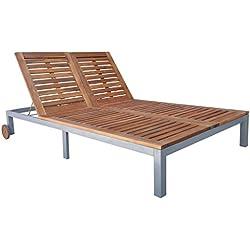 vidaXL Chaise longue en bois d'acacia de jardin plage 207x130x(31-88) cm Bain de soleil