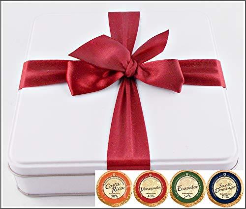 DreiMeister 36 Edel Schokoladen in den besten 4 Sorten in edler Geschenkdose mit roter Schleife kostenloser Versand