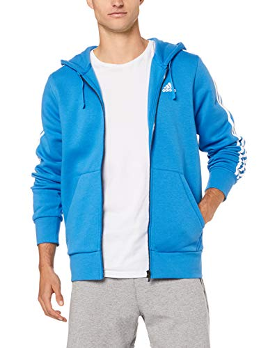 adidas Herren Essentials 3 Stripes Full Zip Kapuzen-Jacke, Bright Blue/White, M -