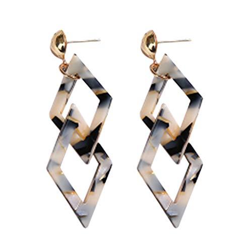 SUPPLY Vintage Ohrringe Doppel Viereck Ohrringe Acryl geometrische Frauen böhmische Ohrringe Modeschmuck Frauen Mädchen Damen Earrings Ohrhänger Hängend Ohrschmuck Geometrische - American Native Ear Cuff