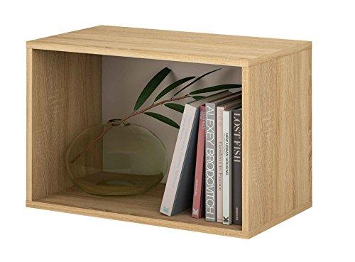 Samblo mizu cubo impilabile rettangolo, legno e melammina, quercia/grigio, 40x 60x 33cm