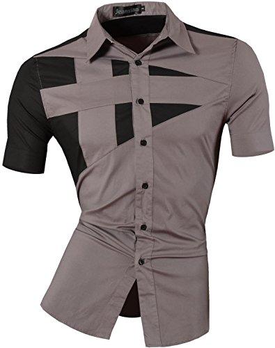 Jeansian uomo camicie manica corta moda men shirts slim fit casual fashion z002 gray xxl