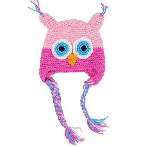 Hat Earflap Cap (Sungpunet Baby Niedlich Häkelarbeiteule Wool Cap Baby-Earmuffs - Pink)