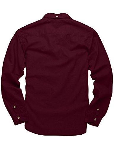 Match Herren Slim Fit Langarm Hemd Leinen Freizeit #2011 2011 Weinrot