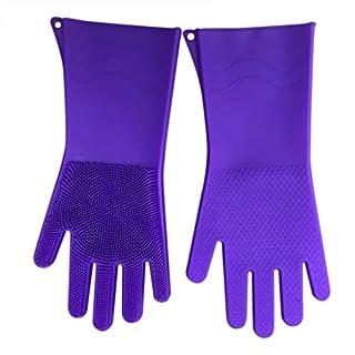 Bescita Magische Silikon-Handschuhe, Silicone Geschirrspülhandschuhe, Küchenhelfer, Hitzebeständig, Reinigen, Haushalt, Geschirrspülen, Autowäsche (Lila)
