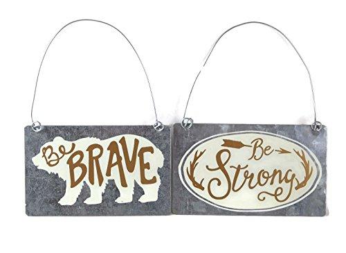 Collins Werden Brave Bär und Be Strong Antler Blechschild Deko-Hänger Ornament Set -