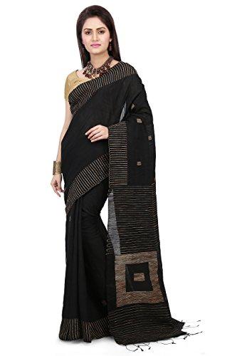 Wooden Tant Women's Silk Cotton Saree With Blouse Piece (Wbg03_Black)