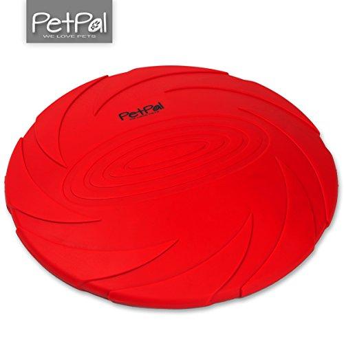 Hunde-Spielzeug Frisbee ø 23cm Durchmesser von PetPäl aus Naturkautschuk | Gummispielzeug das Schwimmt aus Naturgummi | Kauspielzeug für Große & Kleine Hunde