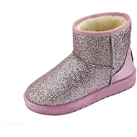 SHIXR Nieve de oto?o invierno de las mujeres botas de tac¨®n plano bota casual aislado , pink ,