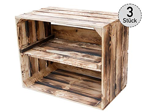 *3er Set* geflammte Obstkisten mit Zwischenbrett längs - Holzkisten als Schuhregal - Vintage - 50x30x40cm