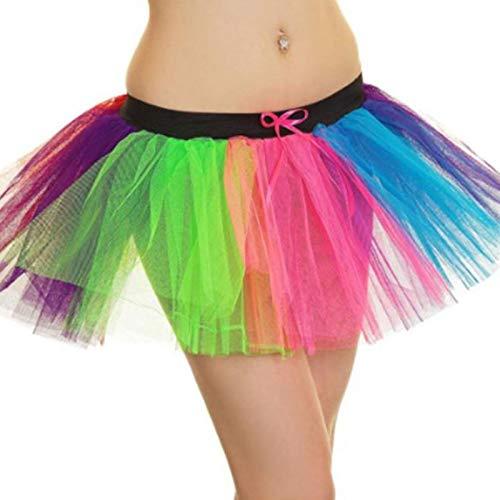 Frooty Linggerie Damen Kostüm für Junggesellinnenabschied, 80er Jahre, modisch, klassisch, Regenbogenfarben, TU Clown-Kostüm, Übergröße 36-50 Gr. S/M (34-36), Regenbogenfarben
