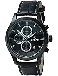 Skone 9406E-1 Chronograph Black Dial Leather Strap Wrist Watch / Casual Watch - For Men's