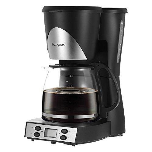 Homgeek Programmabile Macchina da Caffè 1,5 L Caffettiera 12 Tazze Macchina da Caffè con Caraffa & Misurino Caffè UK Plug