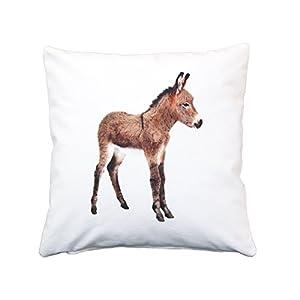 Esel Kissen, Baumwolle, 40×40 cm Hülle, Natur, Tier, Motiv, Deko, Sofa, Garten