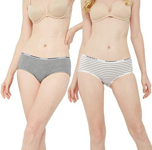 INNERSY Damen Unterhosen Baumwolle Taillenslips Mädchen Streifenmuster 6er Pack (46, Mehrfarbig Streifen) - 2