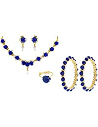 Nisa Pearls Blue Synthetic Coral Combo Set Of Necklace Set, Pair Of Bangles, Ring, For Women
