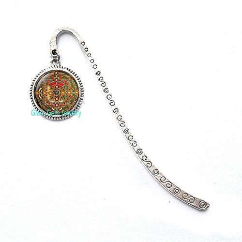 Segnalibro con mandala buddista, gioiello geometrico sacro, segnalibro spirituale, mandala buddista, segnalibro geometrico, Q0210
