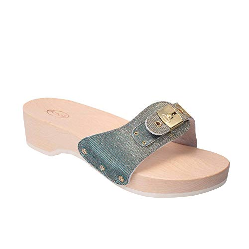 Scholl Clogs Pescura Heel Argento/ORO/Turchese 39 (Dr. Scholls Heels)