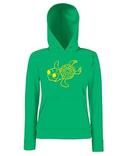 T-Shirtshock - Sweatshirt a capuche Femme FUN1108 crush baby turtle decal sticker 56999 Vert