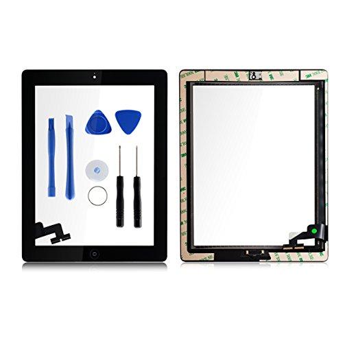 Für Apple iPad 2 Screen-Digitizer Glass Replacement mit Home Button und Werkzeuge zur Reparatur Schwarz (Ipad 2 Display-rahmen-ersatz)