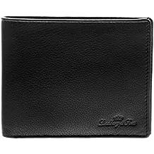 Lindberg & Sons W-1504sw - Billetera cartera Premium para hombre estilo italiano hecha en piel cuero auténtico y con funda protectora de RFID NFC,  color negro