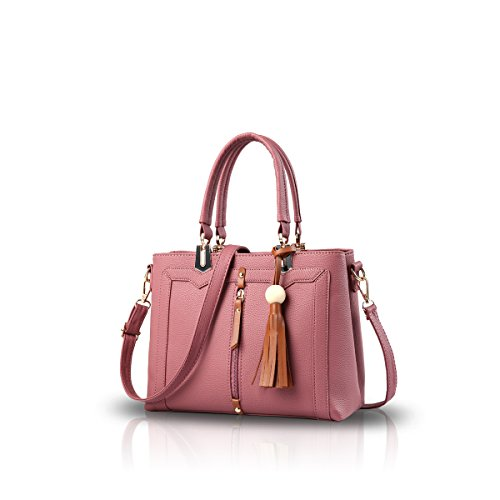 NICOLE&DORIS Donne semplice borsa di Crossbody Bag Commute Totes morbido PU Blu Rosa