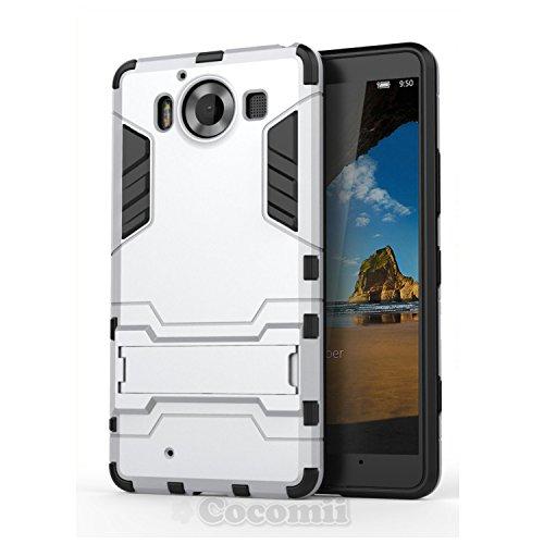 Cocomii Iron Man Armor Microsoft Lumia 950 Hülle [Strapazierfähig] Taktisch Griff Ständer Stoßfest Gehäuse [Militärisch Verteidiger] Ganzkörper Case Schutzhülle for Microsoft Lumia 950 (I.Silver)