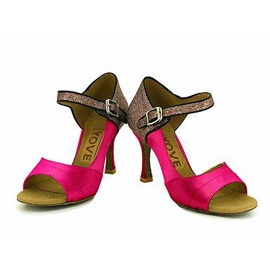 Chaussures De Danse-personnalisable-womens-latin-american Dancing / Custom-talon-satin-satin-noir / Bleu / Jaune / Rose / Violet / Rouge Rouge