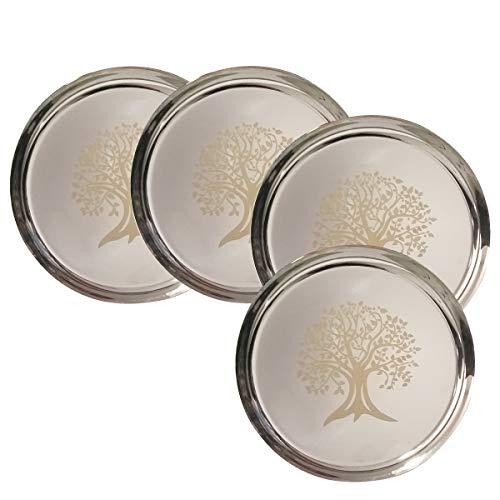 Hall Tree Set (NYGT Edelstahlteller-Set in flachen Speisetellern mit Spiegel-Finish, Baum-Drucke, Thali-Silber-Teller, Geschirr für indische Speisen und Gerichte (4 Stück))