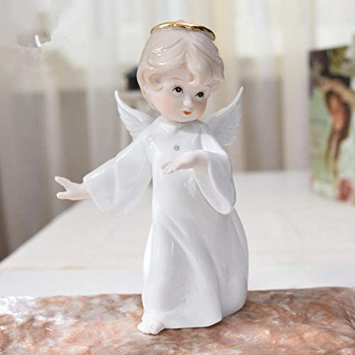 BEAUTYLE Keramik Figur Engel Statue, Wohnzimmer tv Schrank Handwerk Dekorationen, weinschrank Hochzeit Geburtstagsgeschenk, Kleiner Engel-1 stücke (Bronze Engel Statue)