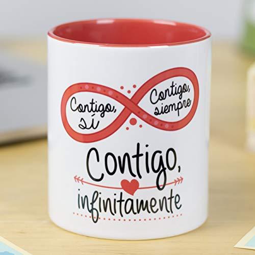 La Mente es Maravillosa - Taza con frase de amor y dibujo romántico (Contigo si, contigo siempre, contigo infinitamente) Regalo para San Valentín