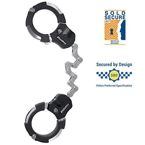 Master Lock Handschellenschloss für Fahrräder, Motorräder, Scooter, Roller, 9 Stahlglieder, Schlüsselschloss