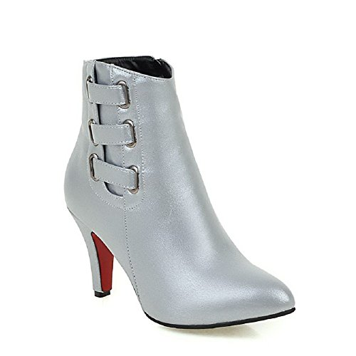 AllhqFashion Damen Niedrig-Spitze Weiches Material Hoher Absatz Spitz Zehe Stiefel, Weiß, 42