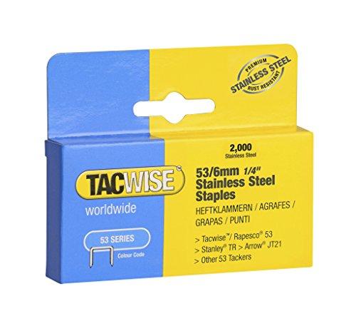 Tacwise 1268 Lot de 2000 agrafes en acier inoxydable de 53x 6mm