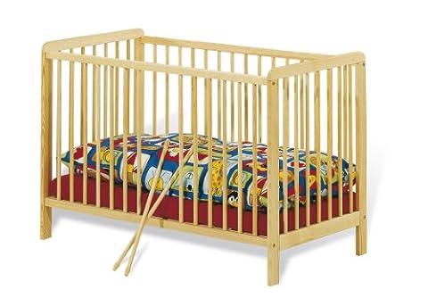Pinolino - 111314 - Kinderbett Hanna (120 x 60 cm) - mit 2 Schlupfsprossen, aus vollmassiver Buche, unbehandelt